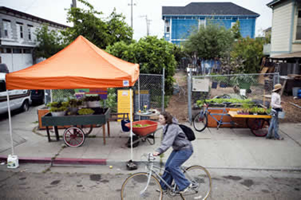 Oakland's City Slicker Farms runs a weekly produce stand in a neighborhood with no large grocery stores. Photo by: Anne Hamersky, annehammersky.blogspot.com