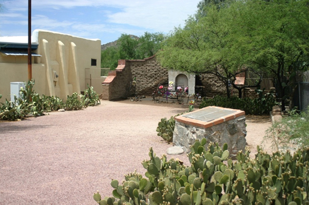 El Tiradito shrine with neighboring adobe building to the south, looking southwest from the northeast corner of the lot (Barry Price Steinbrecher, July 2012, HALS AZ-8).
