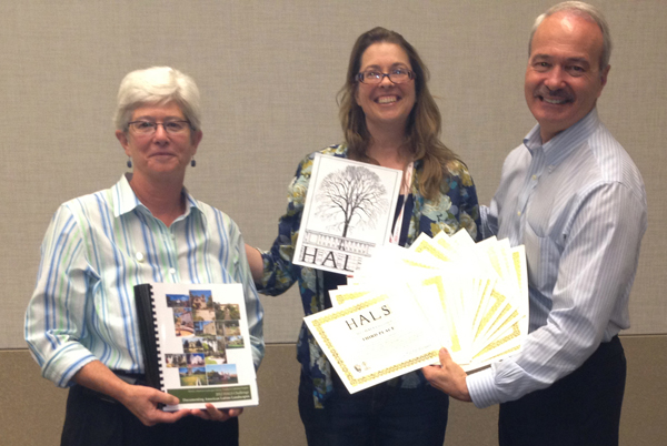 Chris Pattillo, left, and Jennifer de Graaf, center, receive 16 3rd place certificates on behalf of the exemplary communal effort of the HALS Northern California Chapter to document 16 of the California Missions. Pattillo is the Northern California ASLA Chapter HALS Liaison, and both women are previous chairs of the HALS Northern California Chapter (http://halsca.org/).