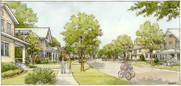 A typical street scene reflecting the SmartCode's T4, General Urban, Fitchburg, WIimage: PlaceMakers