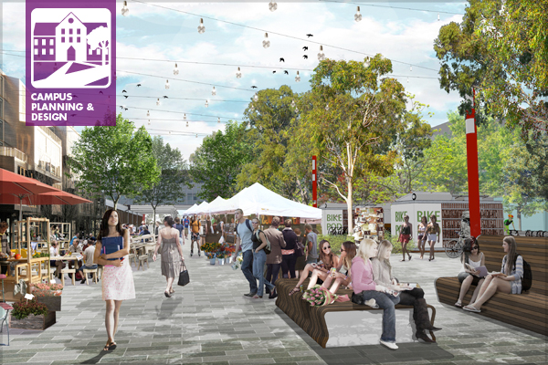 As a major pedestrian route the 'Curtin Corso' is scheduled for urban renewal bringing much needed focus and activity to the centre of the campus.  image: PLACE Laboratory