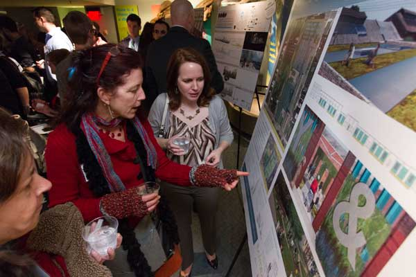 Pre-presentation exhibition of the finalists' designs. image: Mark Garvin Photo