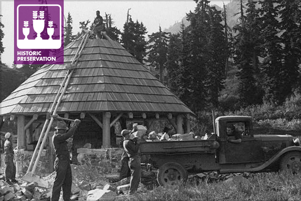 Galena Forest CCC Camp, Mount Baker National Forest, Washington, 1936 image: National Archives