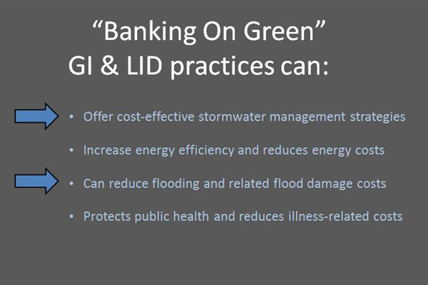 "Summary of the economic benefit categories that are highlighted in the ""Banking on Green"" report. image: Martha Sheils"