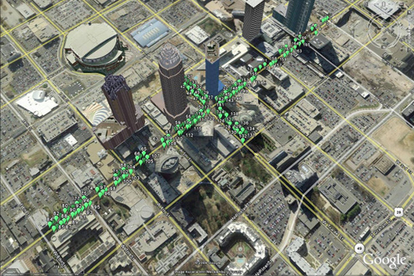 Almost 170 street trees were planted in 700 cubic feet of soil in a suspended pavement system.  image: Google Maps