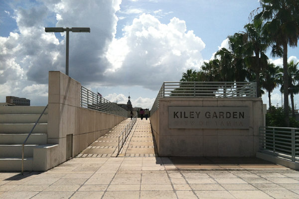 The entrance to Kiley Garden in August 2013. image: Caeli M. Tolar