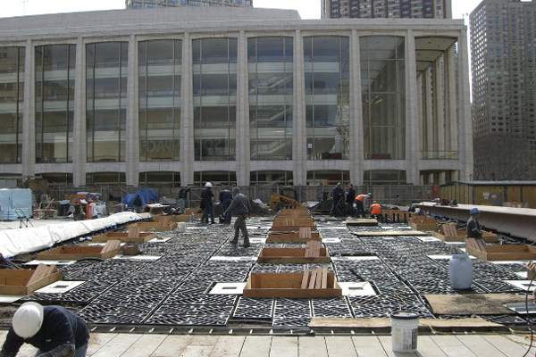 Silva Cells were installed on a parking garage roof at Lincoln Center in 2008.  image: DeepRoot Green Infrastructure, LLC