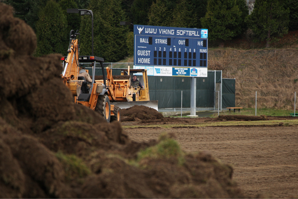 WWU's new softball field under construction image: Erik J. Sweet, SLA Landscape Architecture