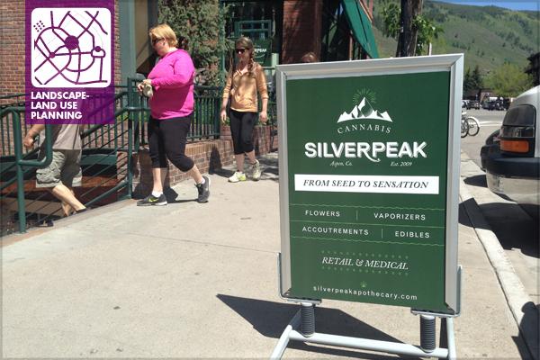 Street signage advertising marijuana products, for both medical and recreational use, have taken their place next to signs for more traditional retail establishments in Aspen.   image: Patrick Rawley, Stan Clauson Associates, Inc.