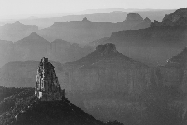 View with rock formation in foreground, Grand Canyon National Park, Arizona, from the series: Ansel Adams Photographs of National Parks and Monuments, compiled 1941-1942, documenting the period ca. 1933-1942 image: The U.S. National Archives via Flickr Commons