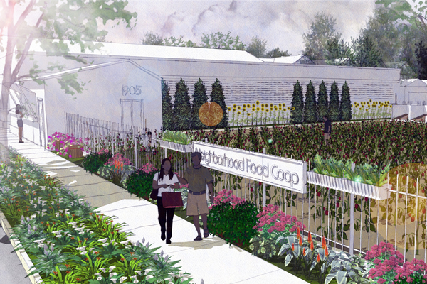 Rendering of the sort of urban agriculture being encouraged by Chicago's Green Healthy Neighborhoods plan image: City of Chicago/Camiros