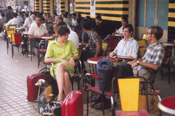 Peace Corps Volunteers at a sidewalk café, Sfax, Tunisia image: Erik Mustonen