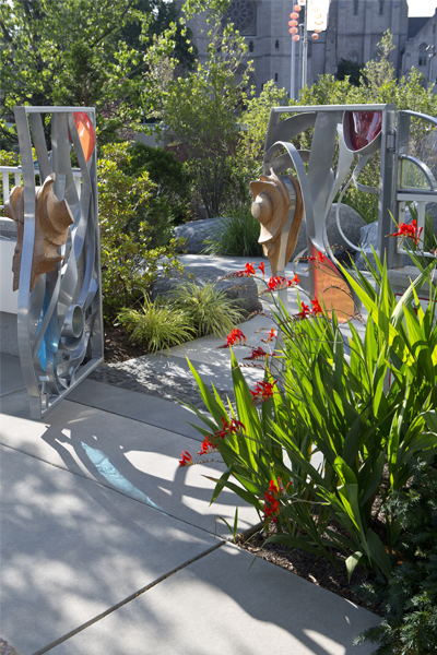 The Fractal Gate, creating a liminal gateway into the Schneider Healing Garden  image: Brad Feinknopf