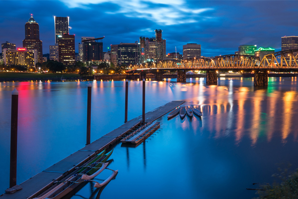 Spring Portland Evening: Looking across the Willamette River towards downtown Portland with the Hawthorne Bridge after a springtime rainfall in the city image: Aaron Hockley via Flickr