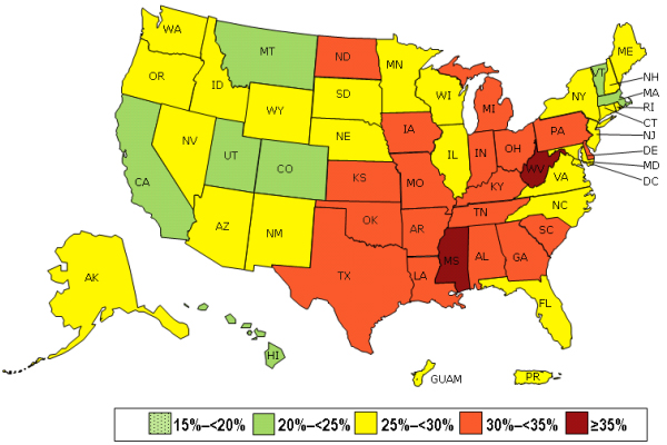 Prevalence of self-reported obesity among U.S. adults by state and territory image: Behavioral Risk Factor Surveillance Systems, 2013, CDC