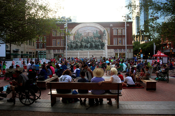 Sundance Square Plaza, Forth Worth, by Michael Vergason Landscape Architects, opened in 2013. LAF's CSI performance study to be published in late 2014  image: Taner R. Ozdil, 2014