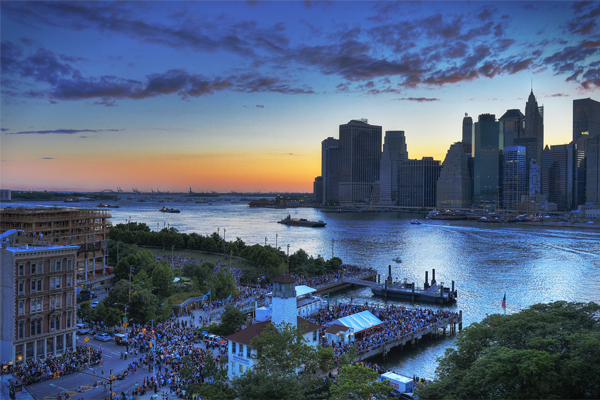 Sunset over Brooklyn Bridge Park and the East River just before the start of the Macy's 4th of July Fireworks image: Diana Robinson via Flickr