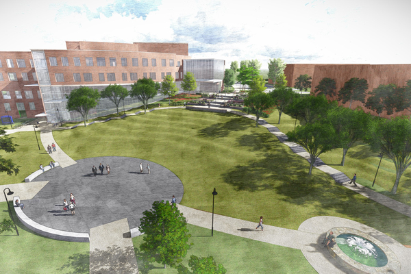 Eastern Connecticut State University Fine Arts & Campus Improvements (Revit, Civil 3D & Lumion Rendering) image: Ryan Deane, The SLAM Collaborative