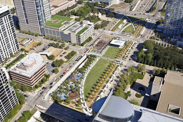 Aerial view of Klyde Warren Park image: The Office of James Burnett, the Landscape Architecture Foundation, and Taner Ozdil