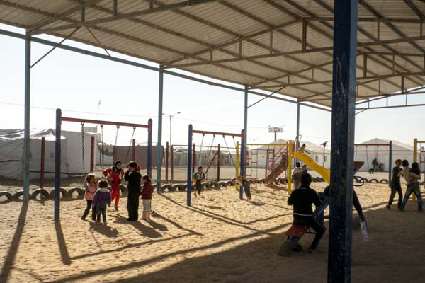 One of the playgrounds in the Al- Za'atari refugee camp that was built by Mercy Corps. January 2014.  image: Malda Takieddine