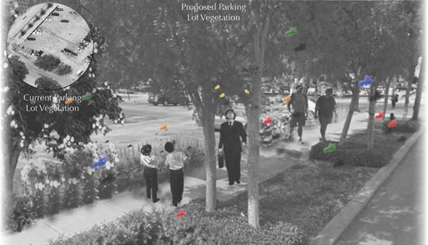 Existing vs. proposed parking lot image: Danielle Bilot