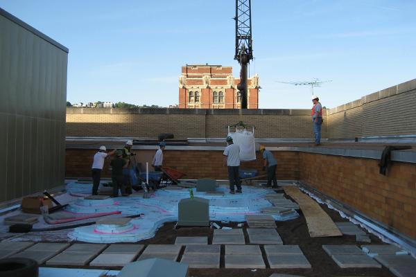Soils were lifted 7 floors by crane in 1-ton super-sacks image: John K. Buck, Civil & Environmental Consultants, Inc.