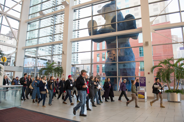 The WILA Walk began in the Colorado Convention Center by Lawrence Argent's I See What You Mean sculpture (the Blue Bear). image: Event Photography of North America Corporation (EPNAC)