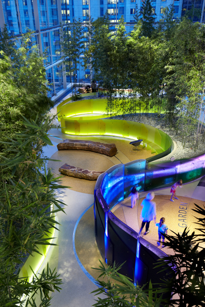 Night view of the Crown Sky Garden from the Tree House - 2013 General Design Honor Award Winner image: George Heinrich Photography