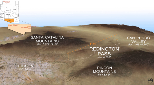 Context map for Redington Pass Image: Rachel Glass