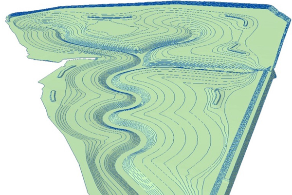 Triangulated Irregular Network (TIN) proposed landform developed in ArcScene image: KTU+A