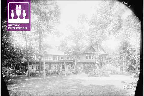 Lantern slide of Seton's manor house at Wyndygoul, Cos Cob, Connecticut, circa 1900 image: Library of Congress, Prints & Photographs Division, LC-DIG-ggbain-01507