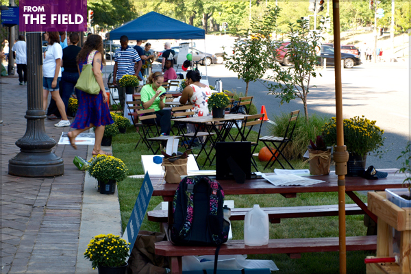 A cluster of parklets on Pennsylvania Avenue in Washington, DC organized by the Council of the District of Columbia, DC UrbanGreens, Living Classrooms, the Anacostia Watershed Society, the Nature Conservancy, Washington Area Bicyclist Association, and Washington Parks & People for PARK(ing) Day 2015 image: Alexandra Hay