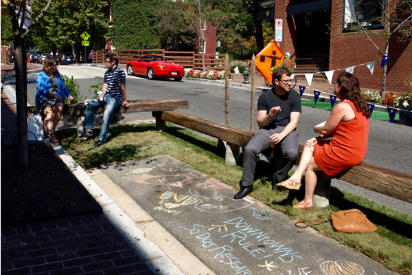 The parklet outside Baked & Wired in Georgetown featured reclaimed railroad tracks as seating image: Alexandra Hay