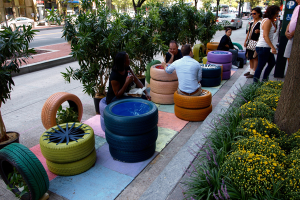 New uses for old tires at ZGF Architects' parklet image: Alexandra Hay