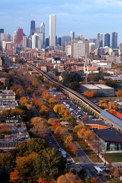 Aerial view of State Street Boulevard looking north toward Chicago image: courtesy of Hoerr Schaudt