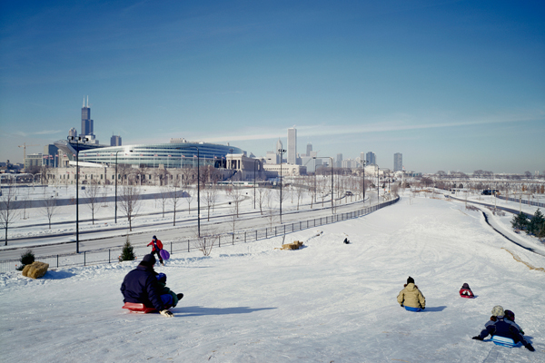 Sledding hill, North Burnham Park image: courtesy of Hoerr Schaudt