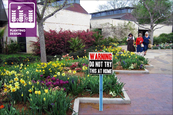 Dallas Arboretum (warning sign added in Photoshop) image: David Hopman