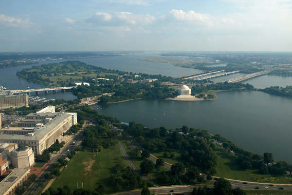 View of the Jefferson Memorial and Tidal Basin from the top of the Washington Monument image: Alexandra Hay
