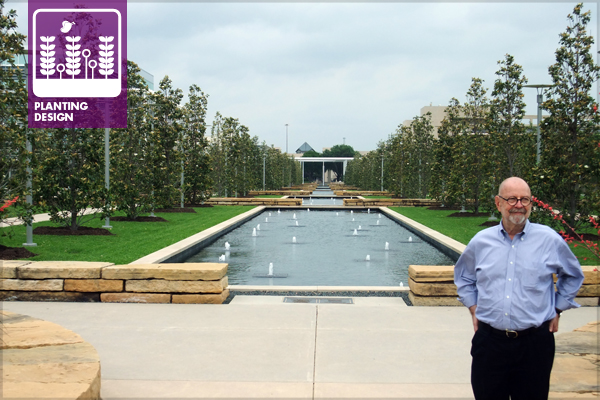 Peter Walker, FASLA, stands in front of his redesign of the UT-Dallas Campus featuring exotic turf and tree species. image: David Hopman