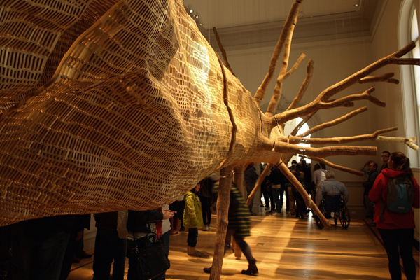 """Middle Fork"" on opening day at the Renwick, packed with visitors image: Alexandra Hay"