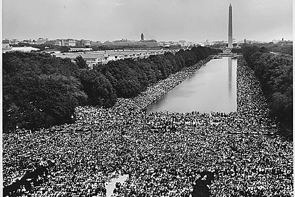 Civil Rights March on Washington, D.C. [A wide-angle view of marchers along the mall, showing the Reflecting Pool and the Washington Monument.], 08/28/1963 image: The U.S. National Archives via Flickr