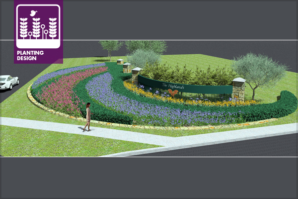 Figure 1: Subdivision entrance planting design using a native and adapted plant palette image: design and computer model by David Hopman, ASLA, PLA