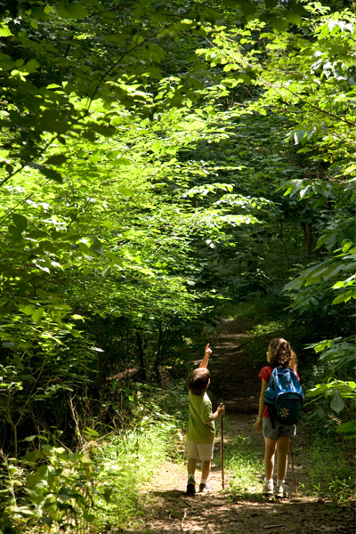Children walking on a wooded path image: USFWS photo by Steve Hillebrand via the Every Kid in a Park media kit
