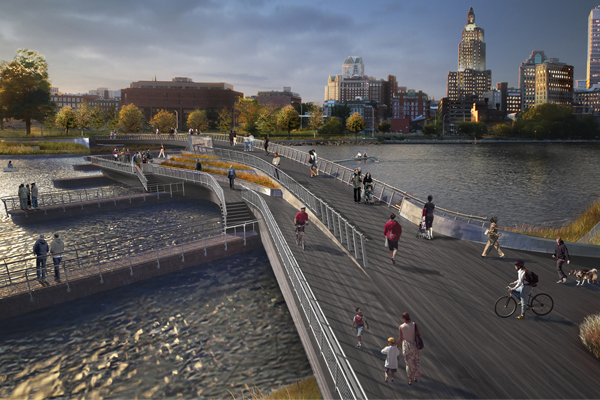 A perspective rendering of the Providence River Pedestrian Bridge image: courtesy of inFORM studio