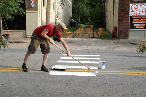 Painting guerilla crosswalks in the street image: Jason Roberts
