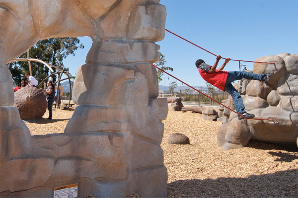 Precast simulated rock climbers leave room for creativity in Cordelia Community Park in Fairfield, CA, designed by Callander Associates. image: Billy Hustace