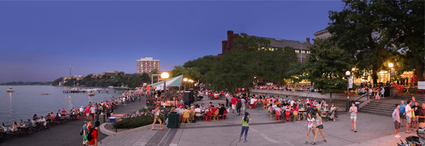 Outside the Memorial Union on Lake Mendota, University of Wisconsin-Madison campus, on a Saturday night in early September, 2013 image: Richard Hurd via Flickr