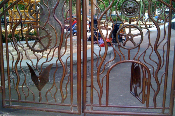 This entry gate has multiple options for users - it welcomes small children through a tiny opening, and is wide enough to allow a large wheelchair or even a gurney to fit through. image: Amy Wagenfeld