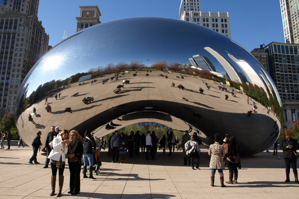 Anish Kapoor's Cloud Gate sculpture, aka the Bean, in Chicago's Millennium Park image: Alexandra Hay