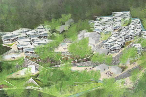 Symbiosis proposes a design for earthquake-resistant structures in Sichuan, China. The plan upgrades irrigation, energy, and waste systems without compromising existing landscape and architecture. image: Kin Lam and Xibing Yang / courtesy of the American Institute of Architects